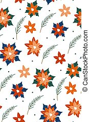 Christmas texture with plants isolated on white background. Cute hand drawn in scandinavian style. New year seamless pattern with branches, berries and flowers. Christmas floral.