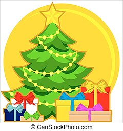 Christmas theme bright colorful poster with xmas tree, star, garland light and pile of presents.