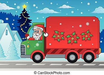 Christmas theme delivery car image 2