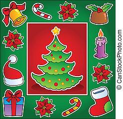 Christmas theme greeting card 1 - vector illustration.