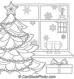 Christmas theme poster with xmas tree, star, garland light, snowflakes, mulled wine and street lantern.