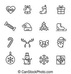Christmas Theme Set of Icons Vector Illustration - Christmas...