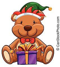 Christmas theme with bear and gift