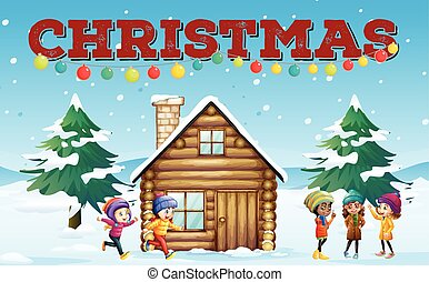 Christmas theme with children and hut