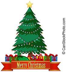 Christmas theme with christmas tree and presents