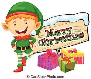 Christmas theme with elf and christmas sign