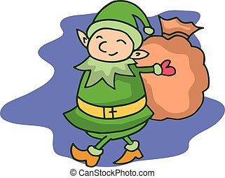 Christmas theme with elf cartoon