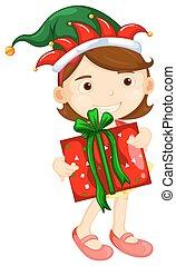 Christmas theme with girl holding present box