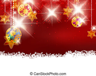 Christmas theme with glass balls.
