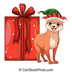 Christmas theme with little dog and present box