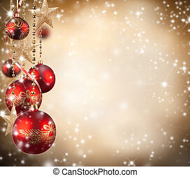 Christmas theme with red glass balls and free space for text...