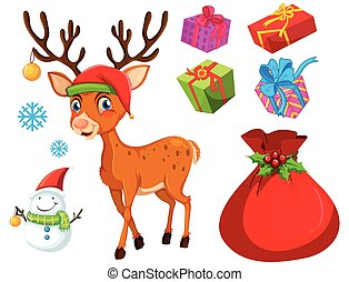 Christmas theme with reindeer and snowman