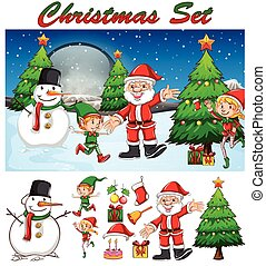 Christmas theme with Santa and snowman
