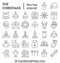 Christmas thin line icon set, holiday symbols collection, vector sketches, logo illustrations, winter signs linear pictograms package isolated on white background, eps 10.