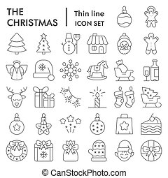 Christmas thin line icon set, xmas symbols collection, vector sketches, logo illustrations, winter signs linear pictograms package isolated on white background, eps 10.