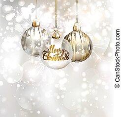 Christmas three evening balls. Gold, silver, bronze symbol.