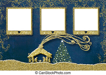 Christmas three photo frames card.