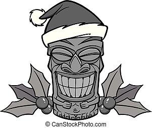 Christmas Tiki Illustration