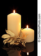 Christmas Time - Candle table setting with golden holly ...