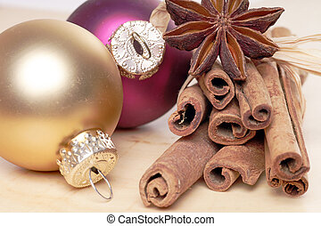 Christmas time - Christmas baubles with cinnamon sticks and ...