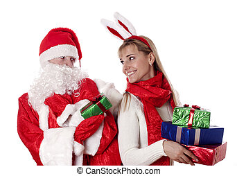 Christmas time. - Christmas couple with gifts, isolated on ...