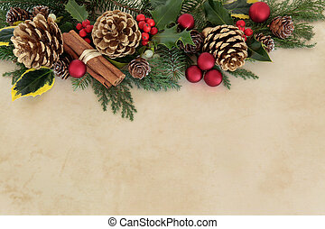 Christmas Time - Christmas floral background border with red...