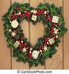 Christmas Time - Christmas heart shaped wreath with red and ...