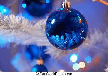 Christmas time - Close-up view of Christmas balls. ...