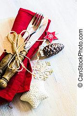 Christmas time concept - Christmas time table setting with ...