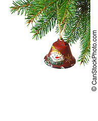 Christmas time. - Funny Christmas bell hanging on a fir ...