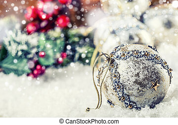 Luxury Christmas ball in the snow and snowy abstract scenes