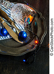 Christmas time table settinf with blue balls and vintage...