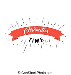 Christmas time text with red ribbon on white background. Vector illustration in flat stylized design for web, banner, poster, print, greeting card