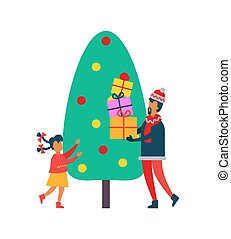 Christmas Time Tree and People with Present Vector