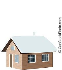 Christmas time. Winter house, shack, hut, cabin, shack,...