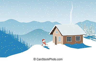 Christmas time. Winter with house, snowman in santa hat, ...