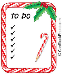 Christmas To Do List with candy cane frame, pencil, check...