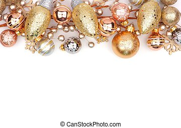 Christmas top border of gold ornaments isolated on white -...