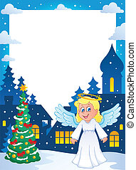 Christmas topic frame 1 - vector illustration.