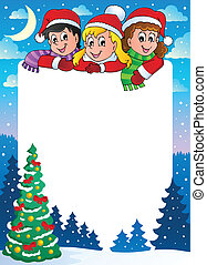 Christmas topic frame 3 - vector illustration.