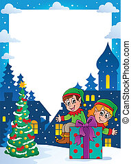 Christmas topic frame 4 - vector illustration.