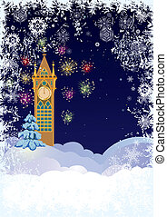 Christmas tower - Christmas illustration with ancient tower...