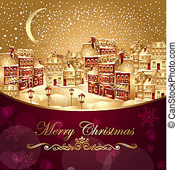 Christmas town - Christmas vector illustration with gold ...