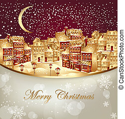 Christmas town - Christmas vector illustration with gold...