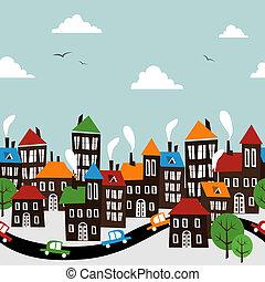 Christmas town seamless cartoon pattern - Christmas winter...