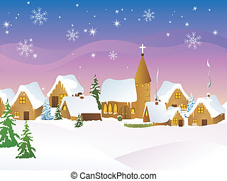 vector illustration of a little town in a snowy landscape
