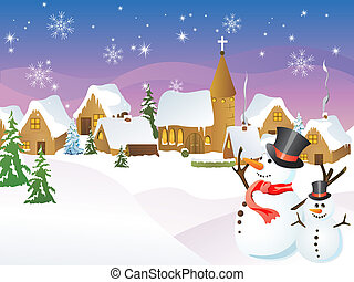 Christmas town - vector illustration of a little town in a ...