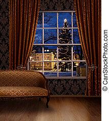 Christmas town view window