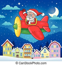 Christmas town with Santa Claus in plane - eps10 vector...