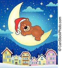 Christmas town with sleeping bear